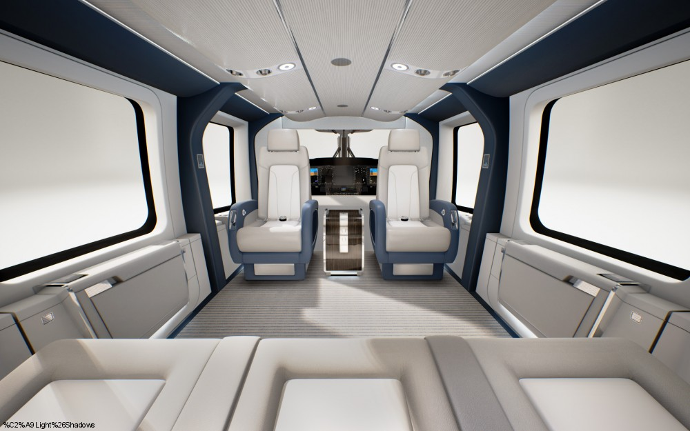 Airbus helicopters introduces the h160 vip version at ebace for Helicoptere interieur